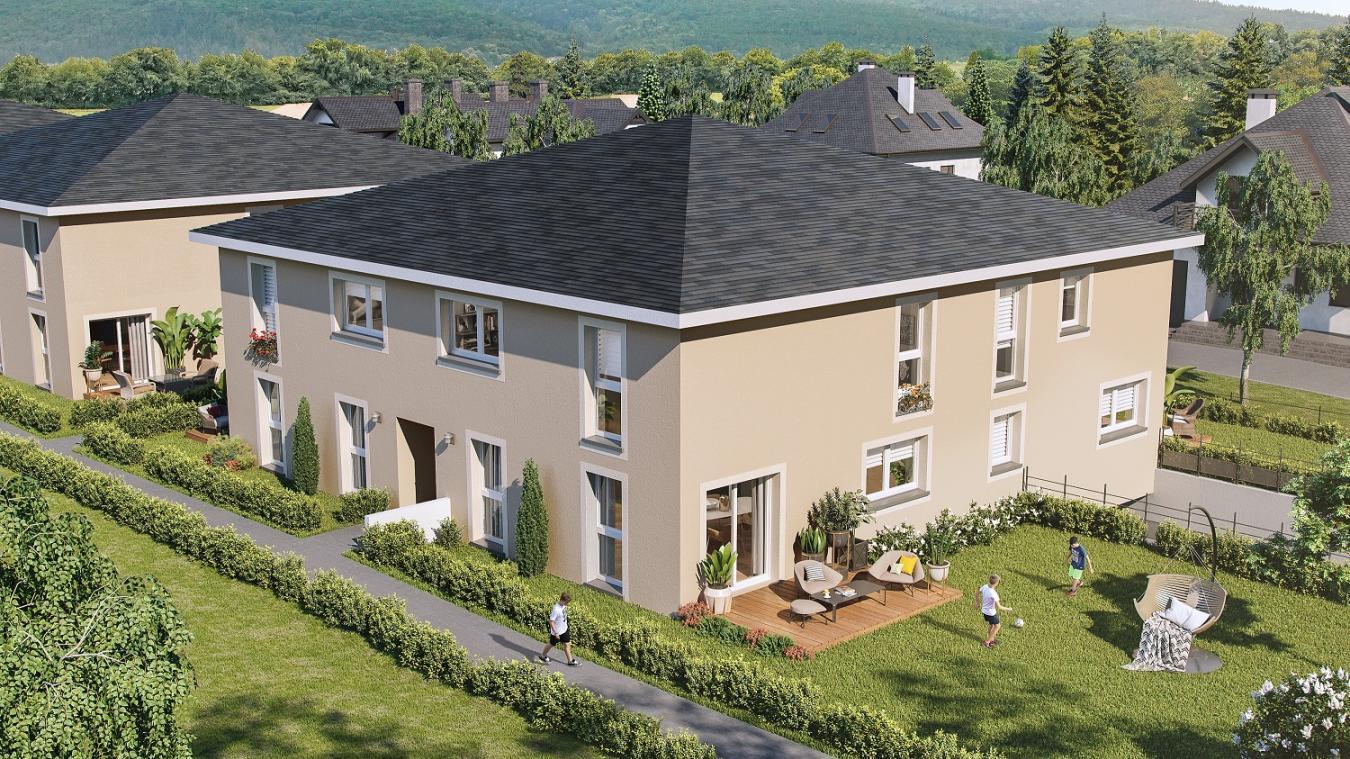 Les Carrés Alpins, ce sont quatre petits collectifs carrés réunissant 4 à 5 appartements en duplex, avec jardin et garage sous-terrain !