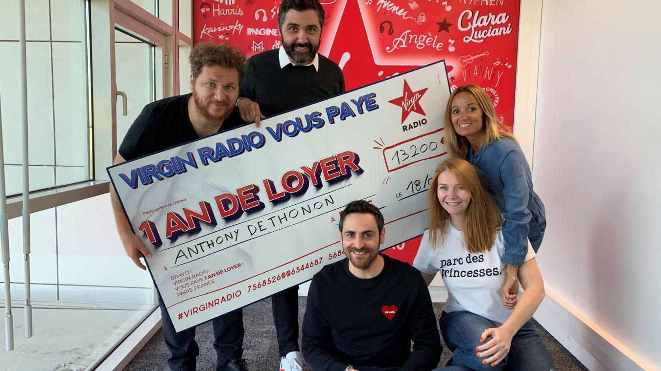 Anthony, un habitant de Vailly, a eu la joie de remporter un an de loyer grâce au Virgin Tonic, une émission diffusée tous les matins sur Virgin Radio et animée par Camille Combal.