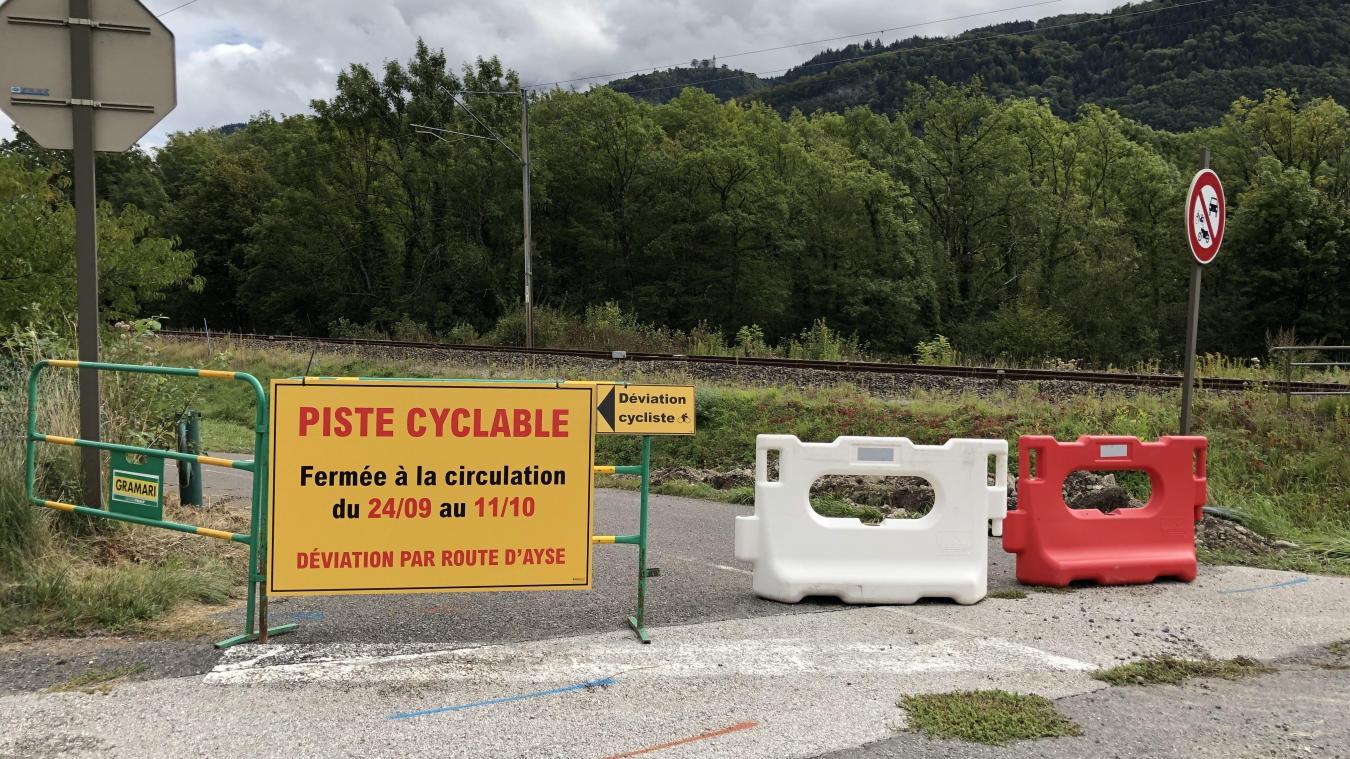 Jusqu'au 11 octobre, la piste cyclable qui relie Marignier à Ayze est fermée à la circulation.