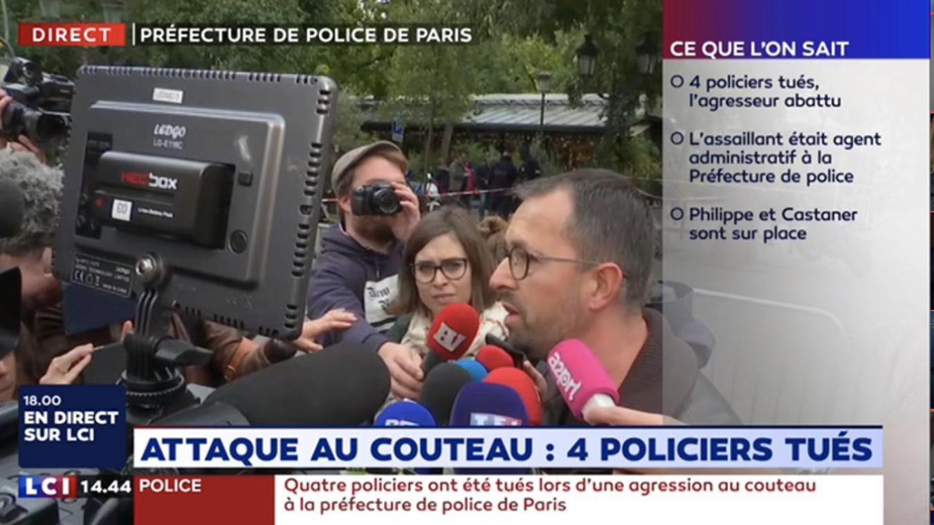 Jeudi 3 octobre, à la mi-journée, un agent administratif de la direction du renseignement a tué quatre policiers à l'arme blanche à l'intérieur de la préfecture de police de Paris. Il a ensuite été abattu par les forces de l'ordre. - Capture d'écran LCI