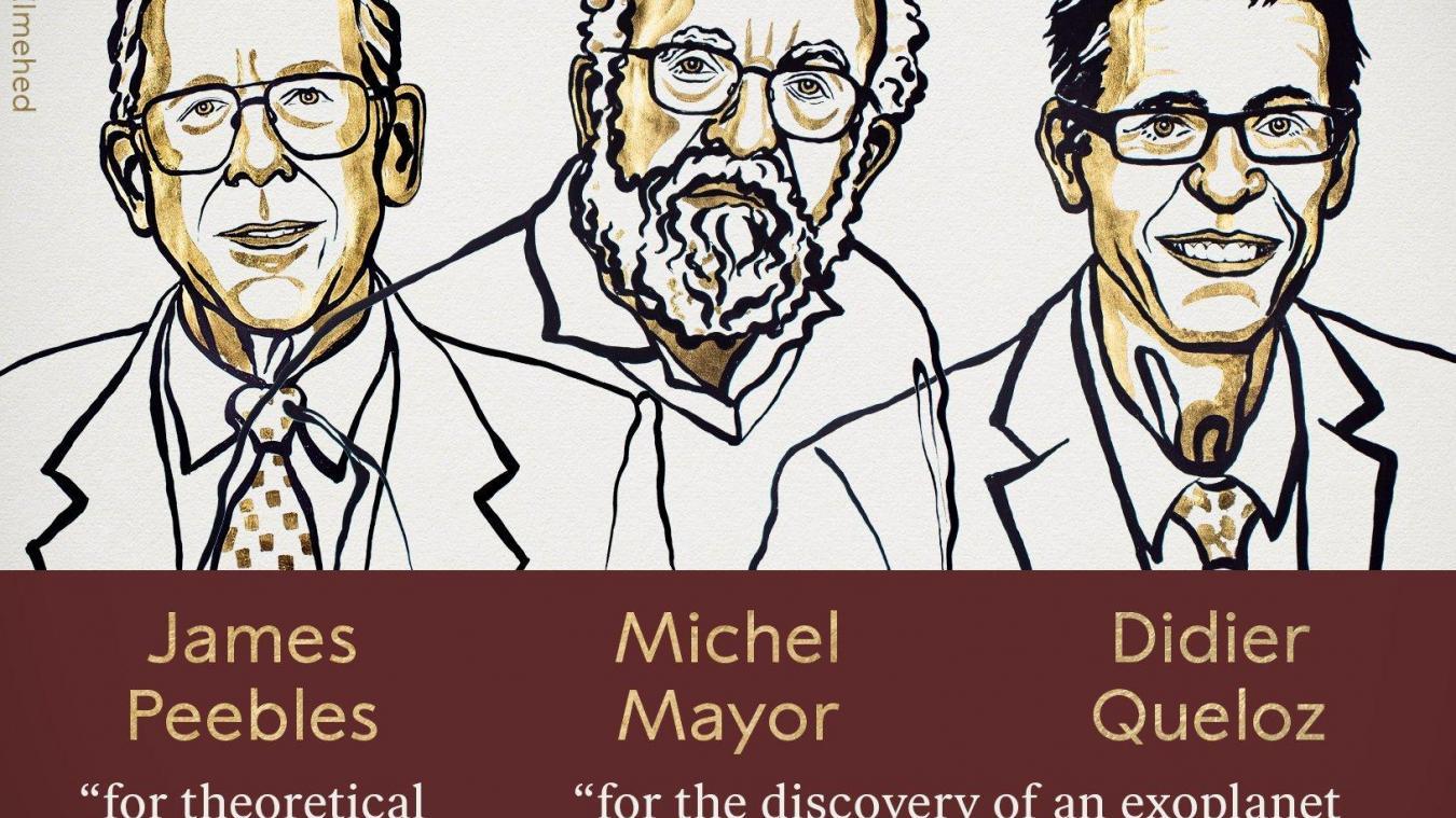 L'Académie royale des sciences de Suède a remis mardi 8 octobre le prix Nobel de physiques à trois cosmologues. Deux d'entre eux sont professeurs à l'université de Genève. © Twitter The Nobel Prize