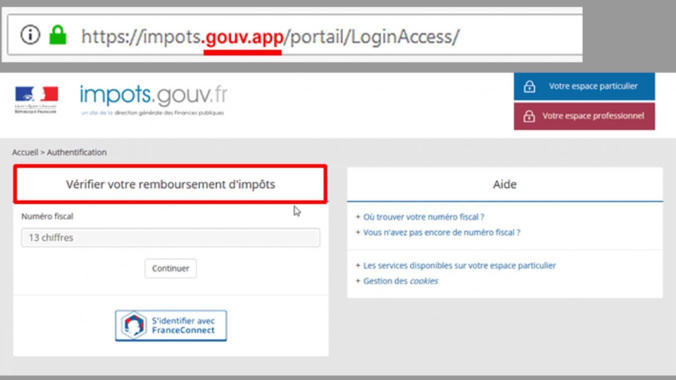 Une arnaque en ligne au remboursement d'impôt est actuellement en cours. (Capture d'écran Finances publiques)