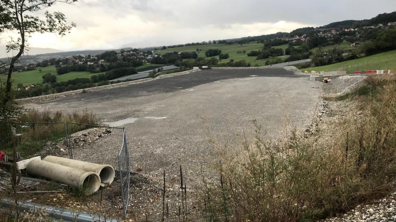 L'emplacement, près de l'autoroute où pourrait être implantée cette usine de méthanisation à Copponex, à côté de Cruseilles.
