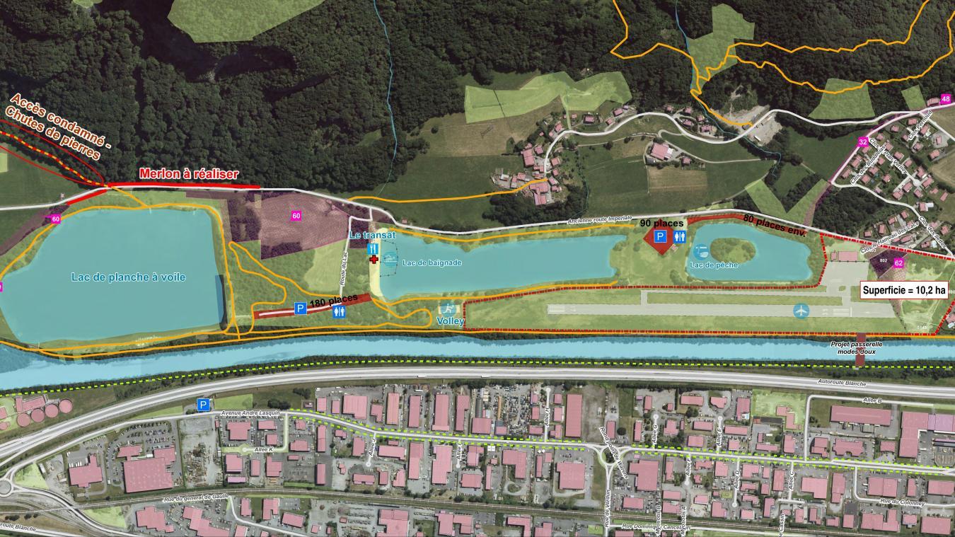Le site de l'aérodrome couvre 10,2 ha sur les 17,5 ha de la zone des Ilettes.