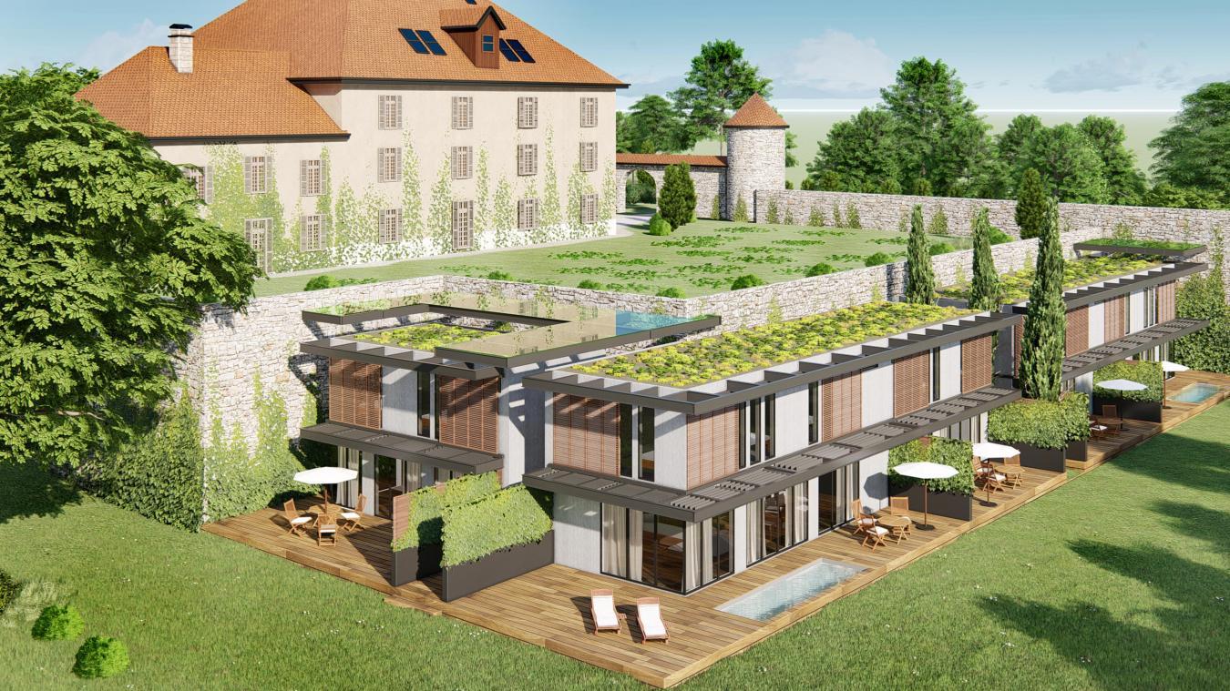 Situé sous le château du Barrioz, le projet immobilier L'Emeraude affiche une surface plancher de 487 m 2  sur un terrain d'une superficie de 2512 m 2 .