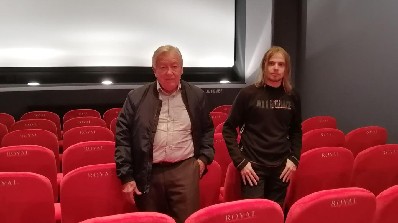 Philippe Piccot avec son nouveau projectionniste Steve Marescq.