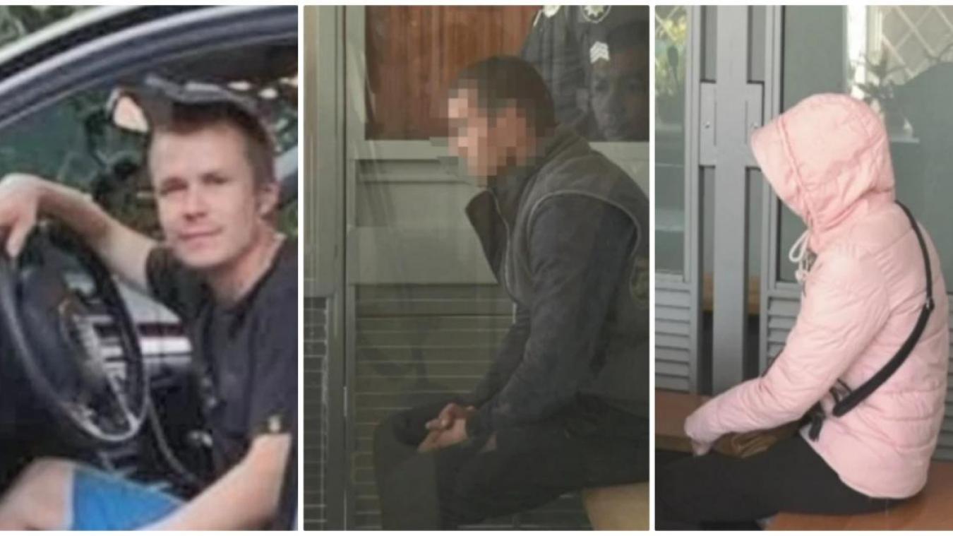 Le violeur présumé (à gauche), le mari (centre) et la femme (à droite) lors du procès devant le tribunal