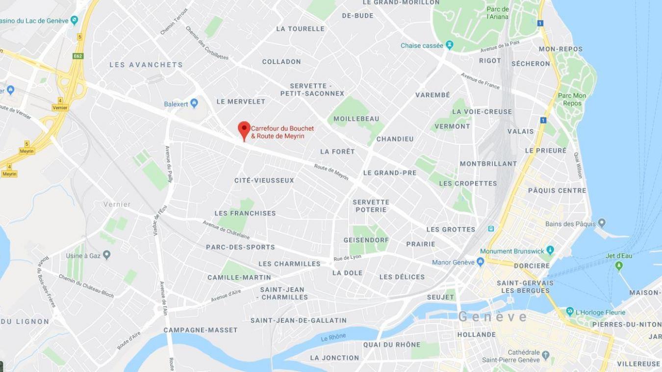 Mardi 22 octobre, un motard a été flashé à 162 km/h à Genève, route de Meyrin © Google Maps.