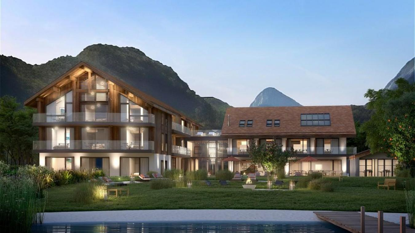 l'hôtel 5 étoiles vu depuis les rives du lac. Une insertion paysagère plutôt réussie. Crédit : Geronimo Architectes.