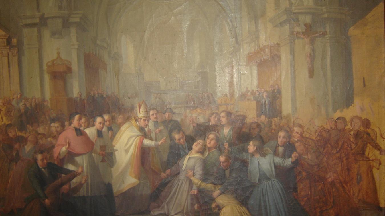 """Au XIX e  siècle, le peintre Laurent Baud a réalisé ce tableau sur l'histoire des """"Possédées de Morzine"""". On y voit l'évêque d'Annecy pris à partie par ces femmes en 1864."""