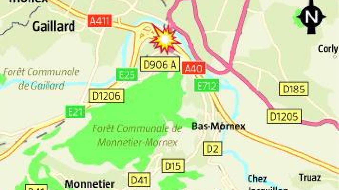Ce mardi 5 novembre, un accident s'est produit sur l'A40, au niveau de la sortie 14 à Annemasse à 6h30.