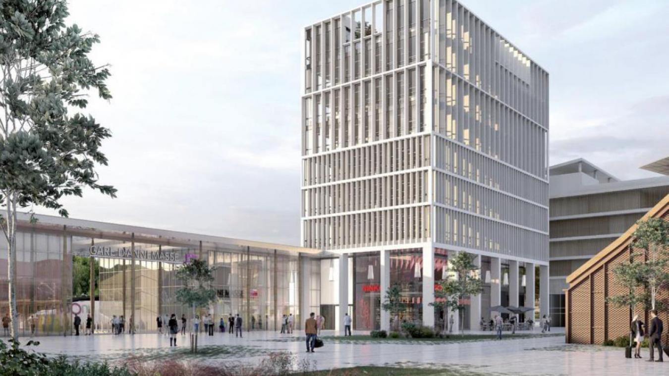 L'immeuble prochainement construit à côté de l'entrée de la gare a fait débat lors du conseil.  © Laisné Roussel