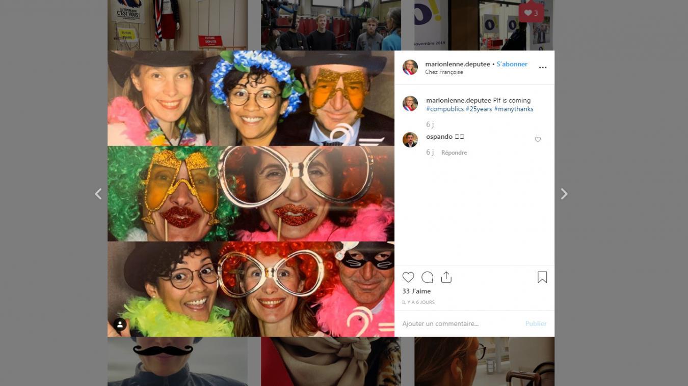 Mardi 5 novembre, Marion Lenne était présente, avec trois autres députés LREM à la soirée pour le 25e anniversaire d'un cabinet de lobbying. Une soirée qu'elle a partagée sur son compte Instagram.