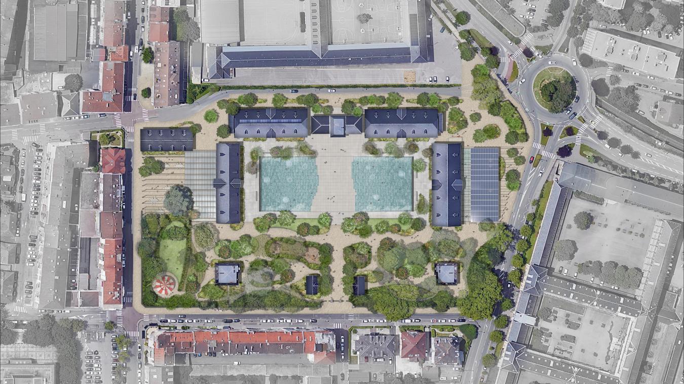 Dans le projet de réhabilitation, il est prévu que le haras d'Annecy accueille la cité du cinéma d'animation (en haut du plan) et une salle de projection et de conférences (à droite) ainsi qu'une halle gourmande (à gauche).