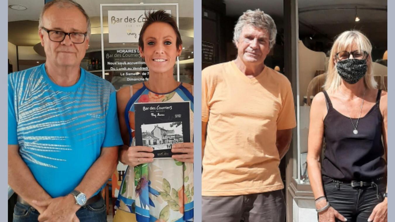 Jean-Luc Robier et Marc Van Ackere, de la SPA du Chablais, avec Maria et Carole, deux marraines.