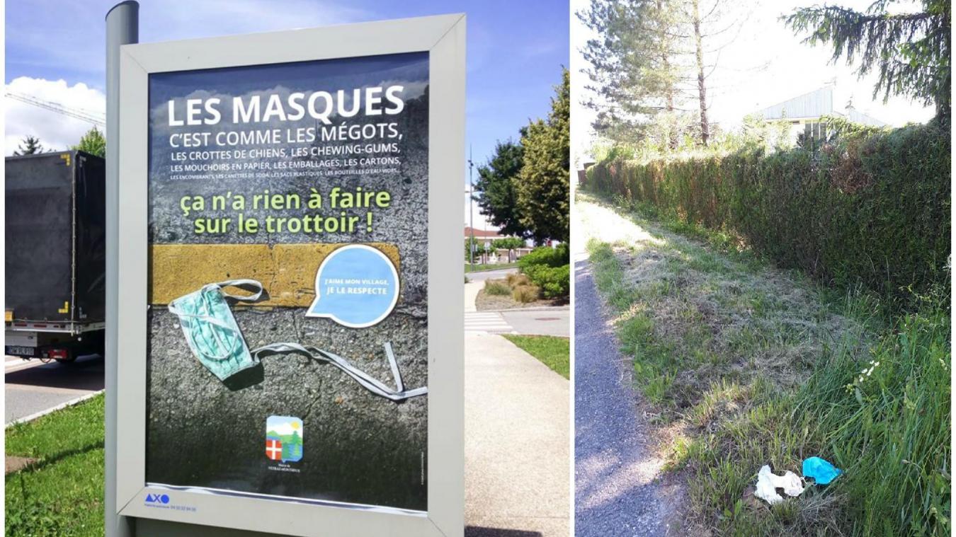Cet été, la commune de Vétraz-Monthoux a lancé une campagne de communiciation pour sensibiliser le public au bon usage des masques.