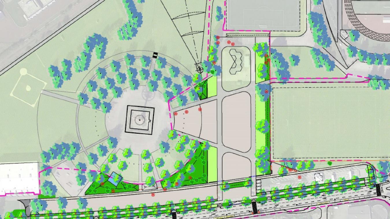 Le projet prévoit la création d'une esplanade notamment pour la fête foraine et la replantation d'arbres autour du mat olympique.