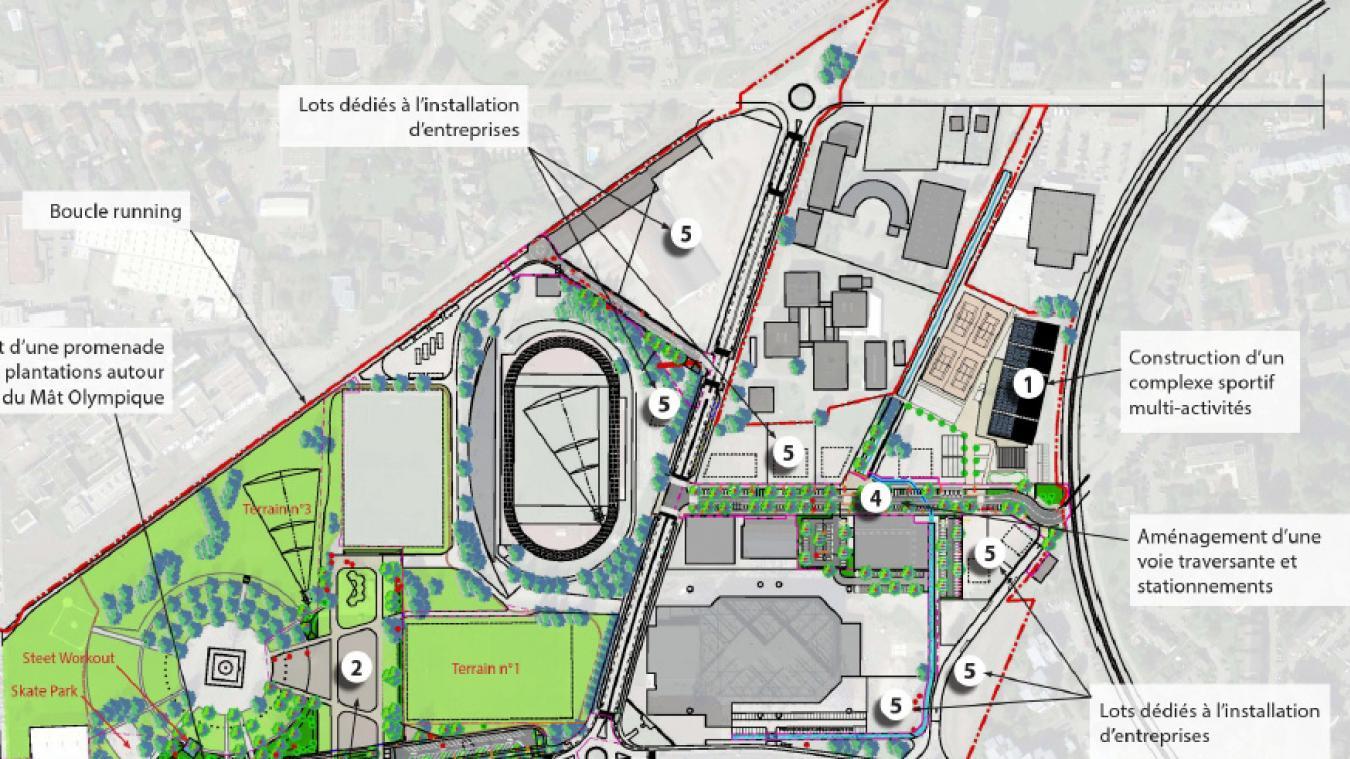L'aménagement de l'esplanade pour les manifestations (2 sur le plan) et le rétrécissement de l'avenue Fontanet avec création d'une promenade piéton et cycle (3 sur le plan) fait partie du projet de ZAC olympique.