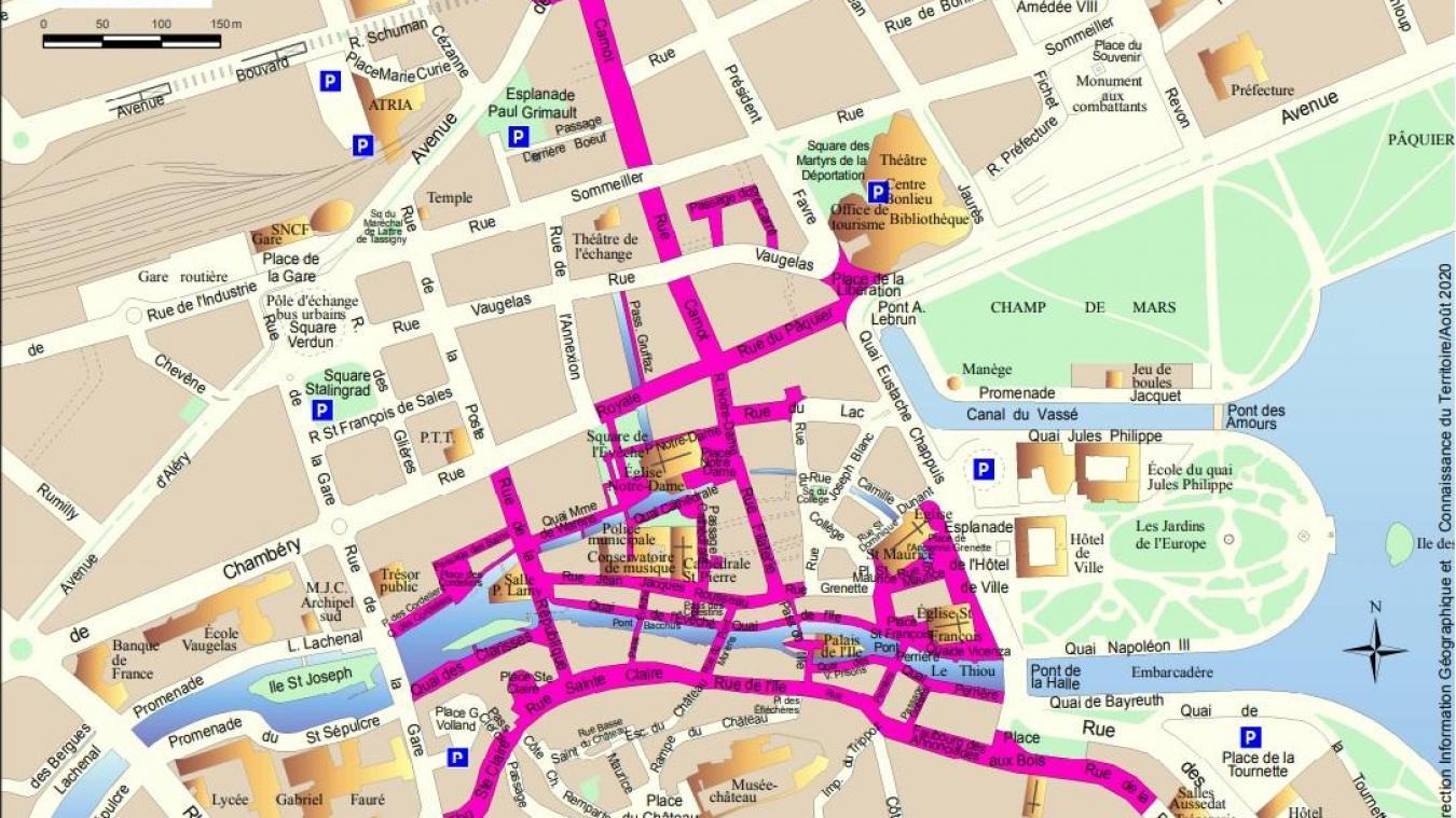 En tout, 26 rues de la vieille ville sont concernées par le port obligatoire du masque.