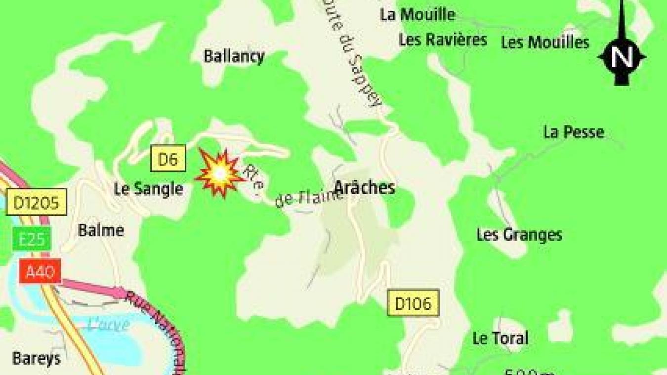 Samedi 8 août, une jeune conductrice s'est gravement blessée suite à une sortie de route entre Arâches-la-Frasse et Flaine.