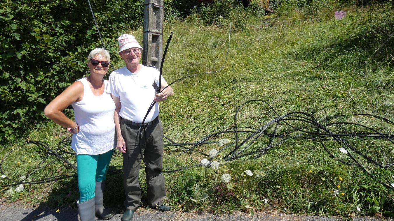 Le 22 juin dernier, un câble d'Orange passant au-dessus de la route a été sectionné.