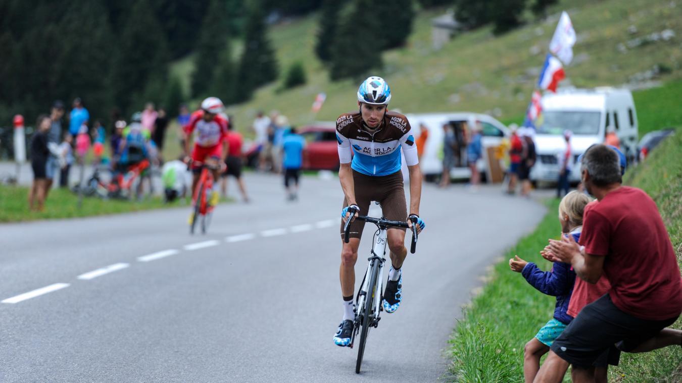 Aurélien Paret-Peintre à l'assaut du col des Aravis, lors du récent Critérium du Dauphiné.