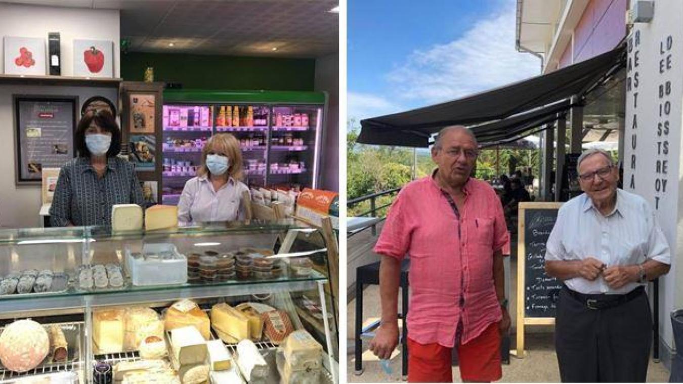 L'épicerie du village (avec Jacqueline à gauche et Michèle) et Le Bistrot de Bossey (avec René à gauche et Gilbert) mettent de la vie à la commune.