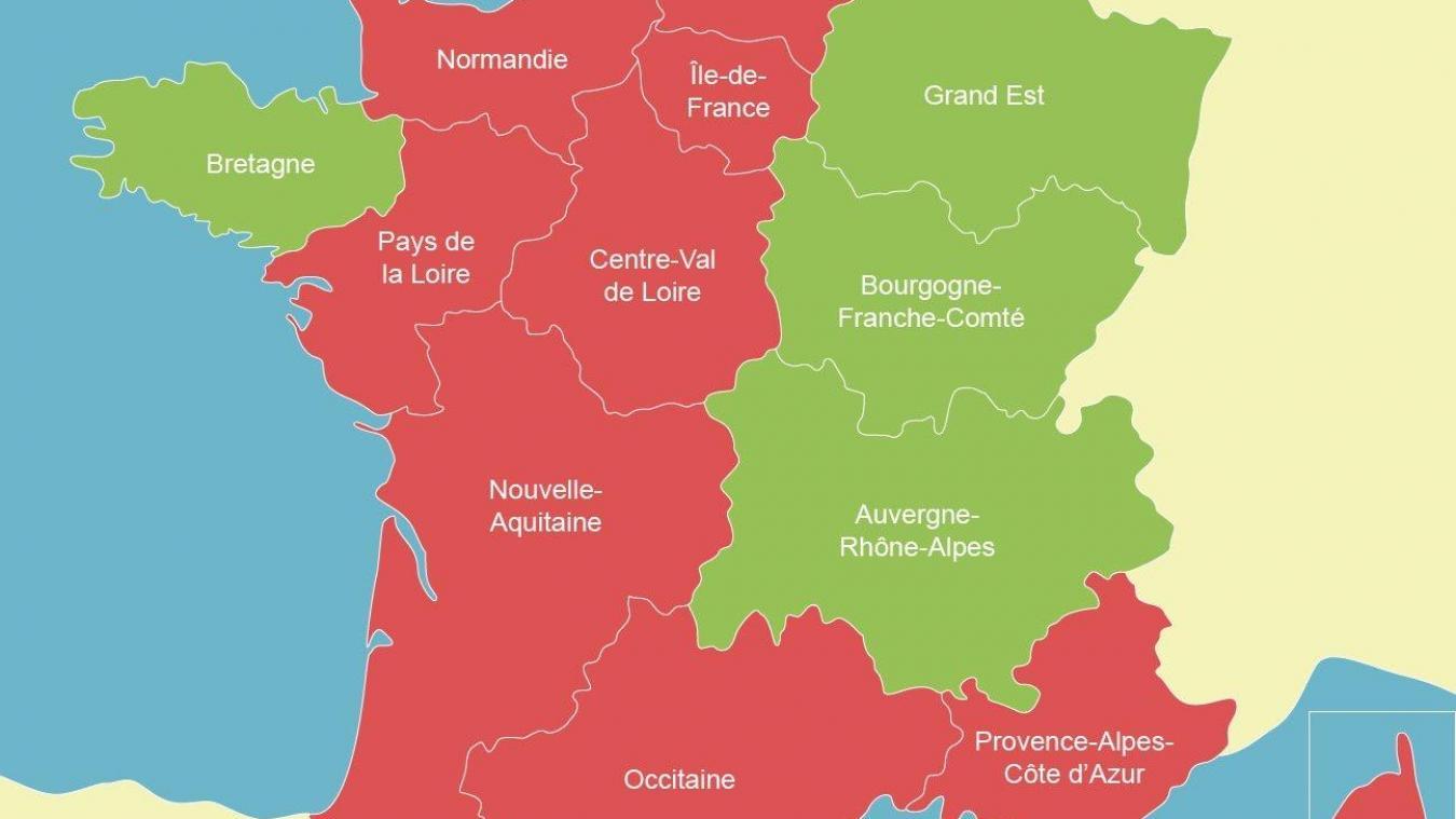 En rouge, les neuf régions placées sur la liste rouge suisse.