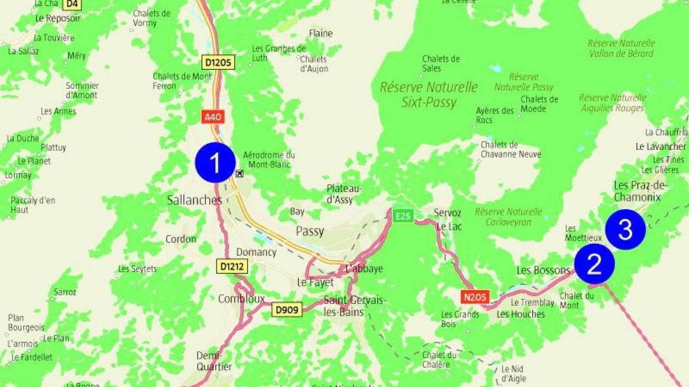 Samedi 12 septembre, à 16h55, sur le parking du Carrefour de Sallanches (1), un homme vole une voiture et prend la direction de Chamonix. A 17h25, au rond-point de la Vigie (2), une patrouille de gendarmes veut l'intercepter mais il refuse d'obtempérer. Il est enfin arrêté avenue Cachat le Géant (3) à 17h45.