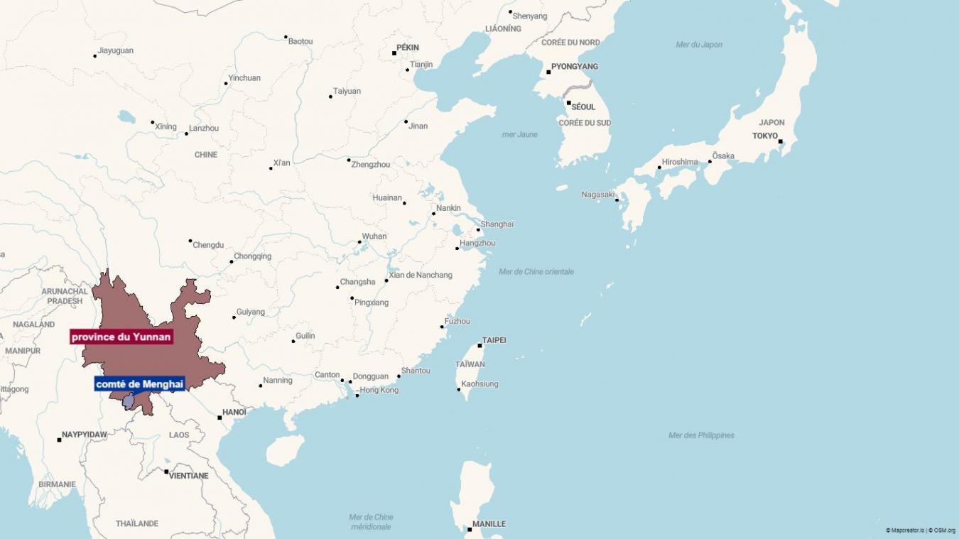 Le cas a été découvert dans la province du Yunnan.
