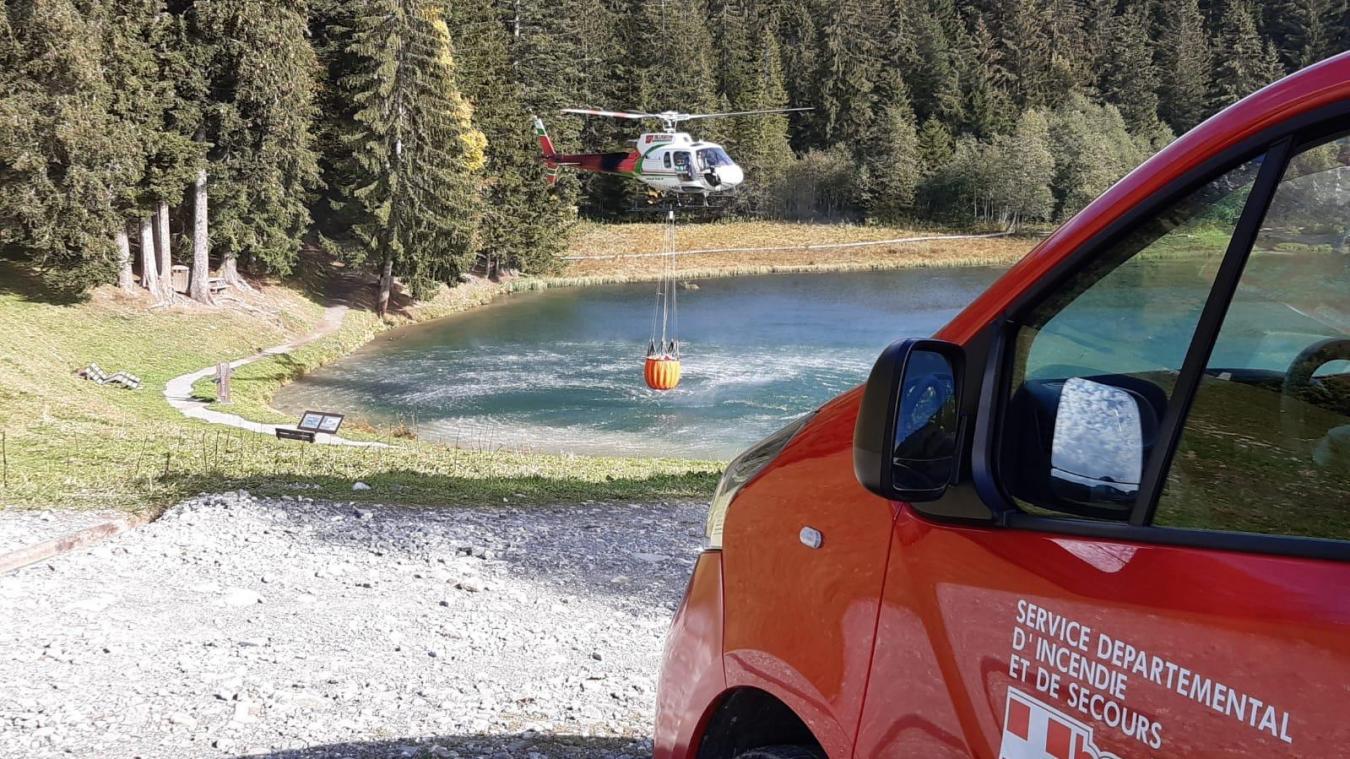 L'après-midi, l'entraînement des sapeurs-pompiers s'est déroulé avec la société Blugeon hélicoptère.