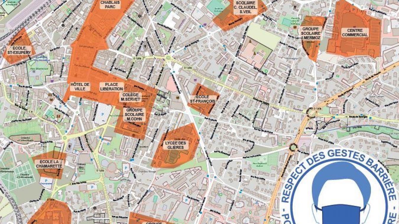 A Annemasse, à compter du lundi 19 octobre, le port du masque est obligatoire dans ces zones, de 8h00 à 21h00.