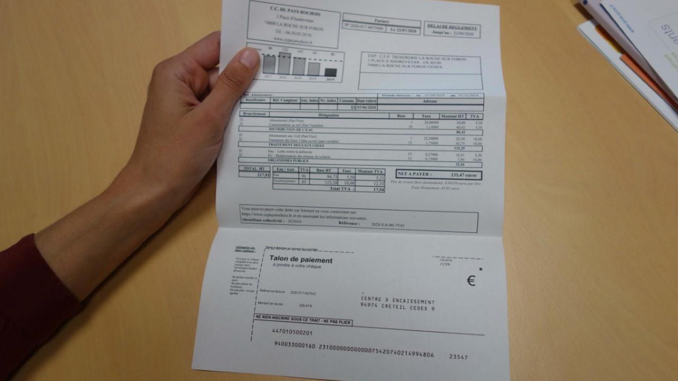 La facture d'eau potable d'une abonnée du Pays Rochois telle que délivrée actuellement.