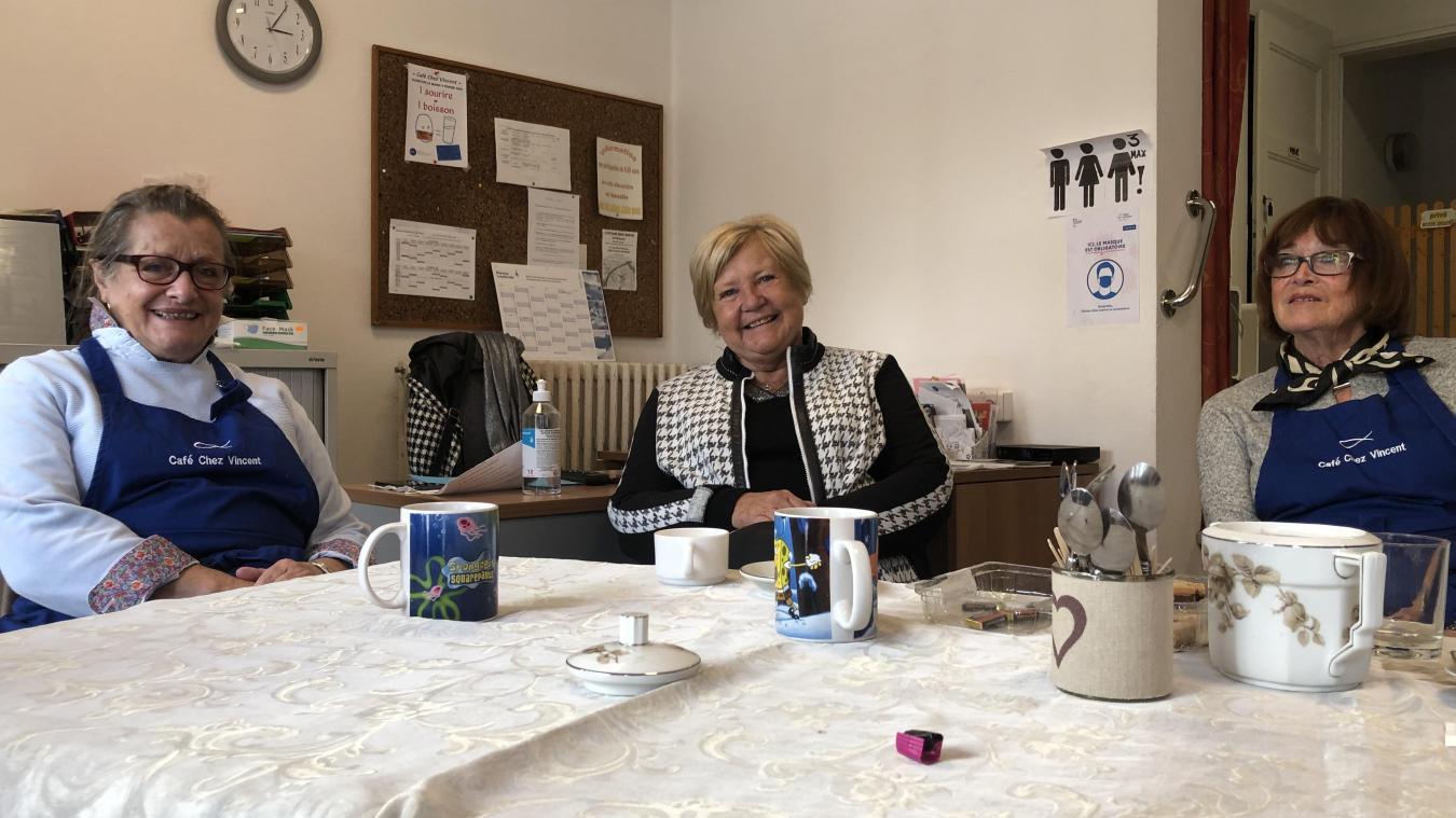 Dominique Lherbier, Josette Binggeli et Martine André ont lancé le café solidaire en février dernier.