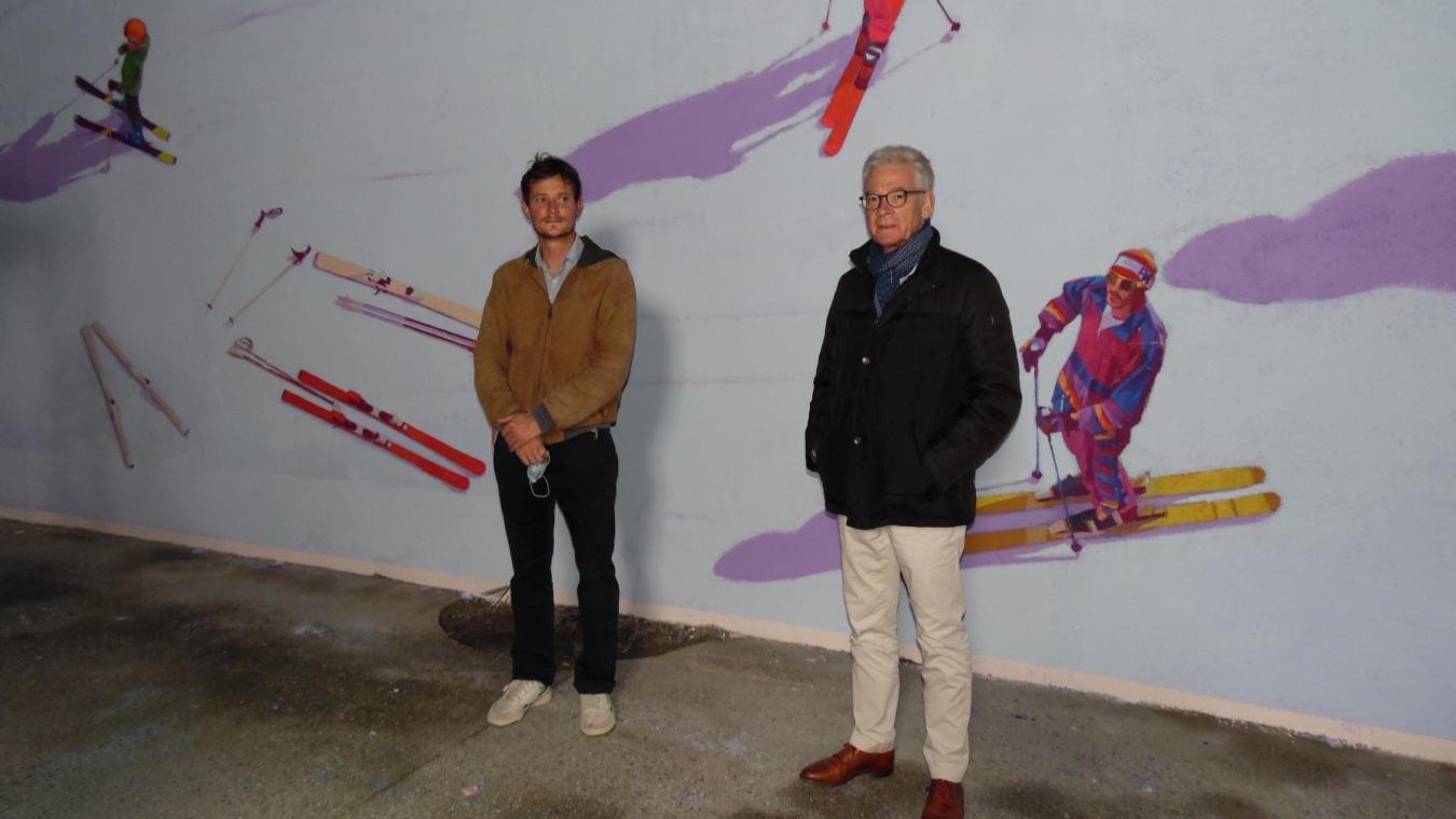 Les murs de Saint-Gervais s'embellissent d'une fresque sur le thème du ski