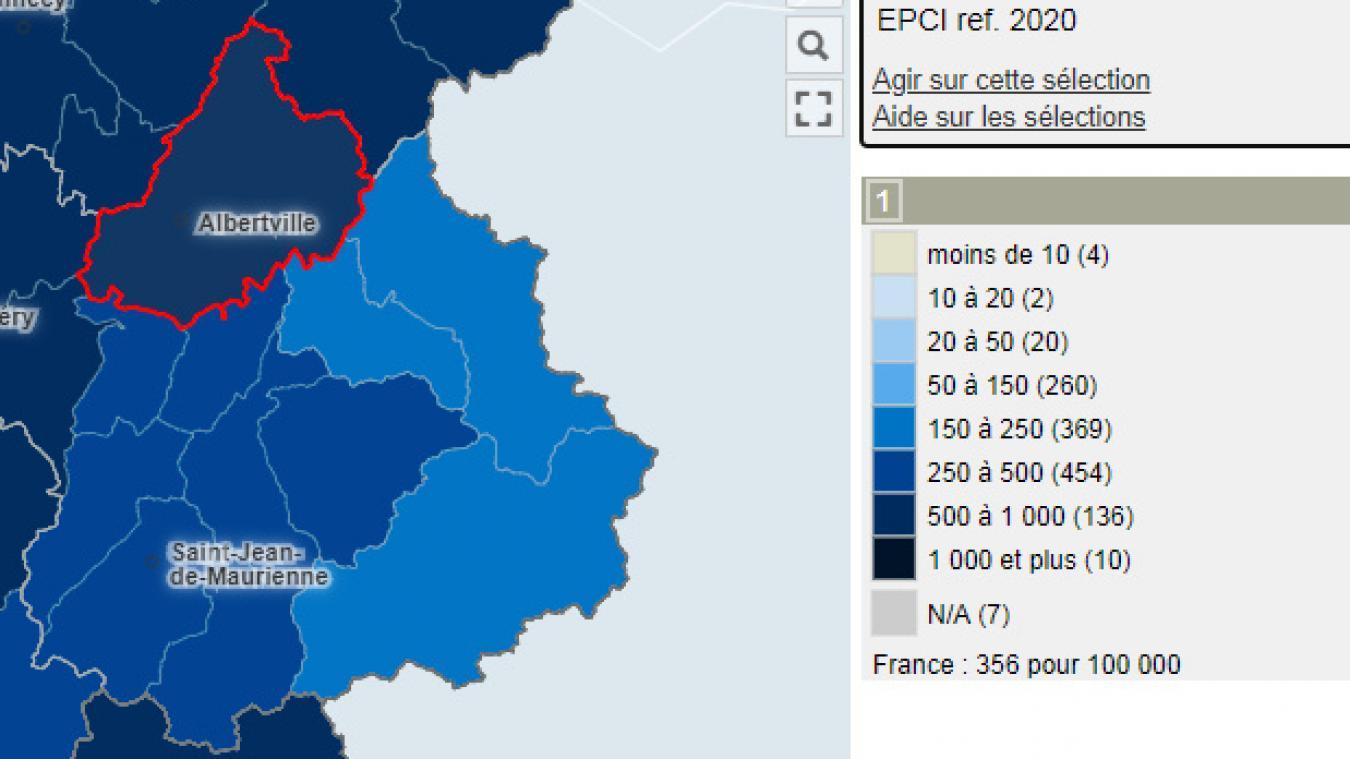 L'agglo Arlysère a un taux d'incidence situé entre 500 et 1000 sur 100 000 habitants semaine glissante du 17 au 23 octobre 2020.