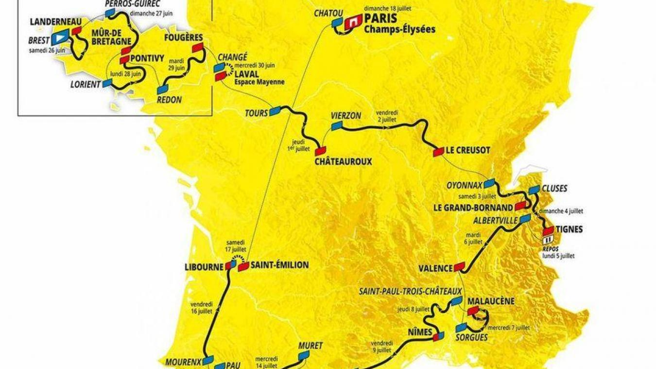 Découvrez la carte du Tour de France 2021