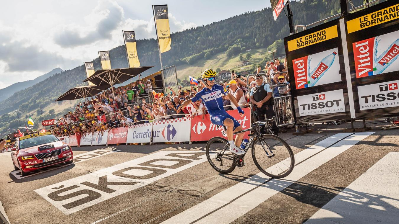 Le nouveau champion du monde de cyclisme, Julian Alaphilippe, s'était imposé au Grand-Bornand sur le Tour de France 2018.