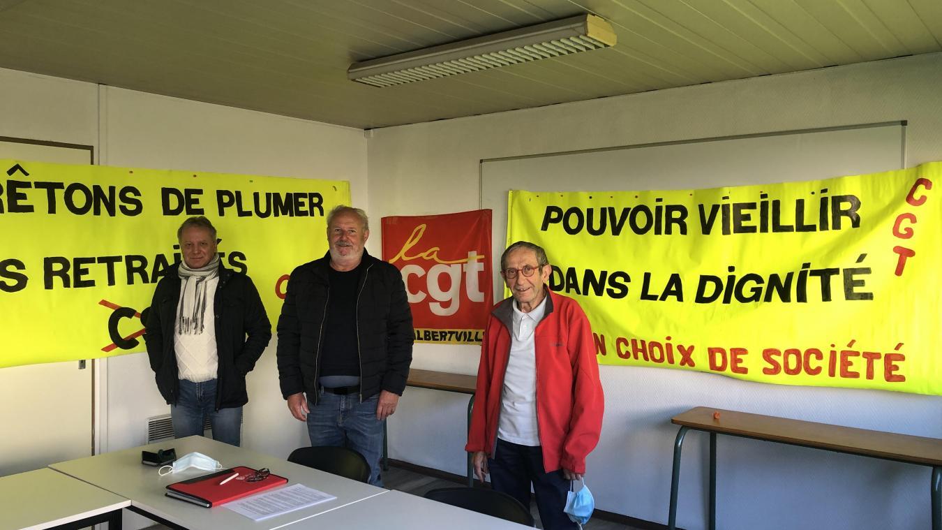 Philippe Perrier, Remi Ferront et Pierre Moretton membres de l'unité locale CGT d'Albertville.
