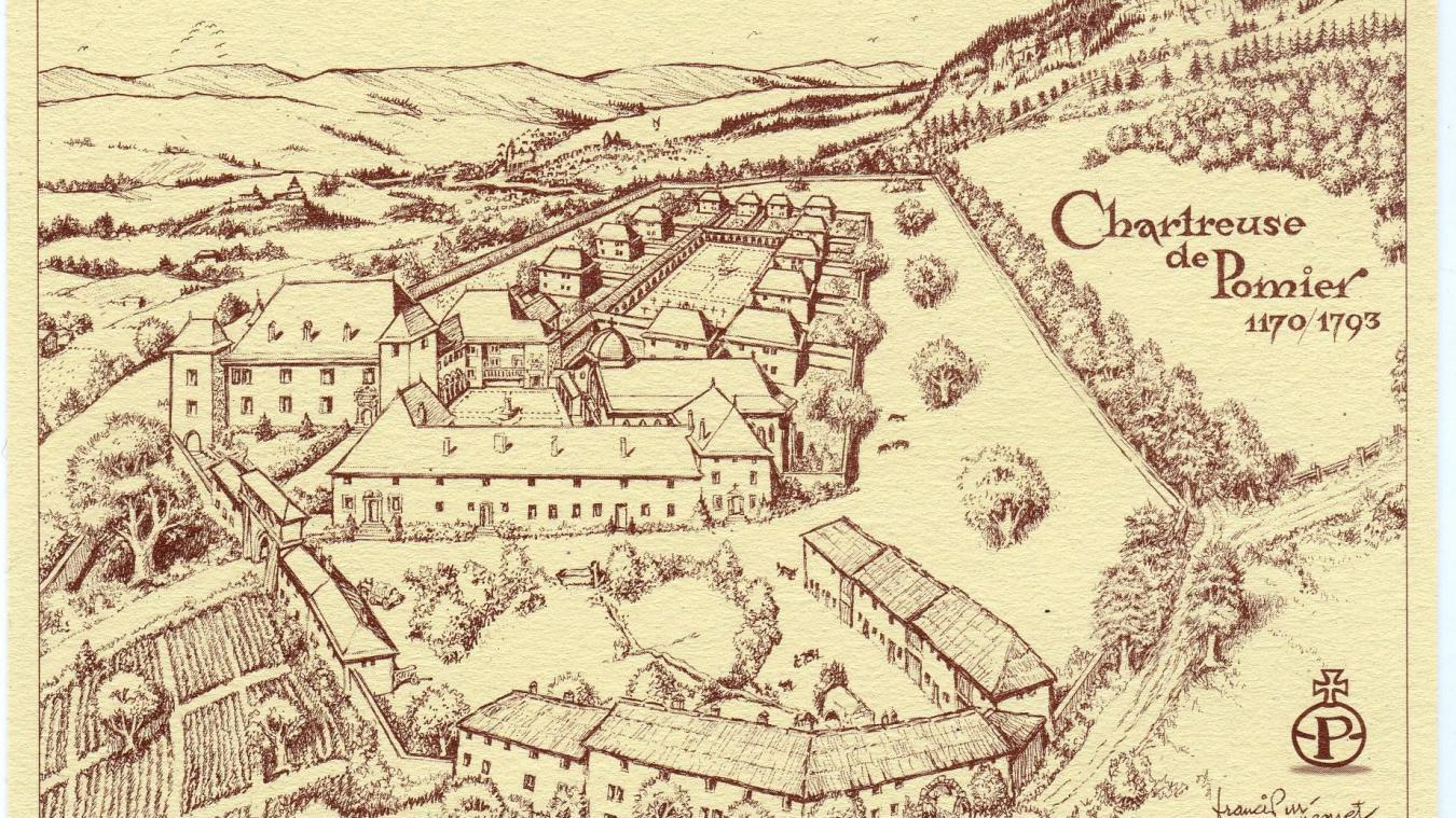 La Chartreuse de Pomier au temps de sa splendeur. Des bâtiments originaux, il ne reste aujourd'hui que le cloître (à gauche).
