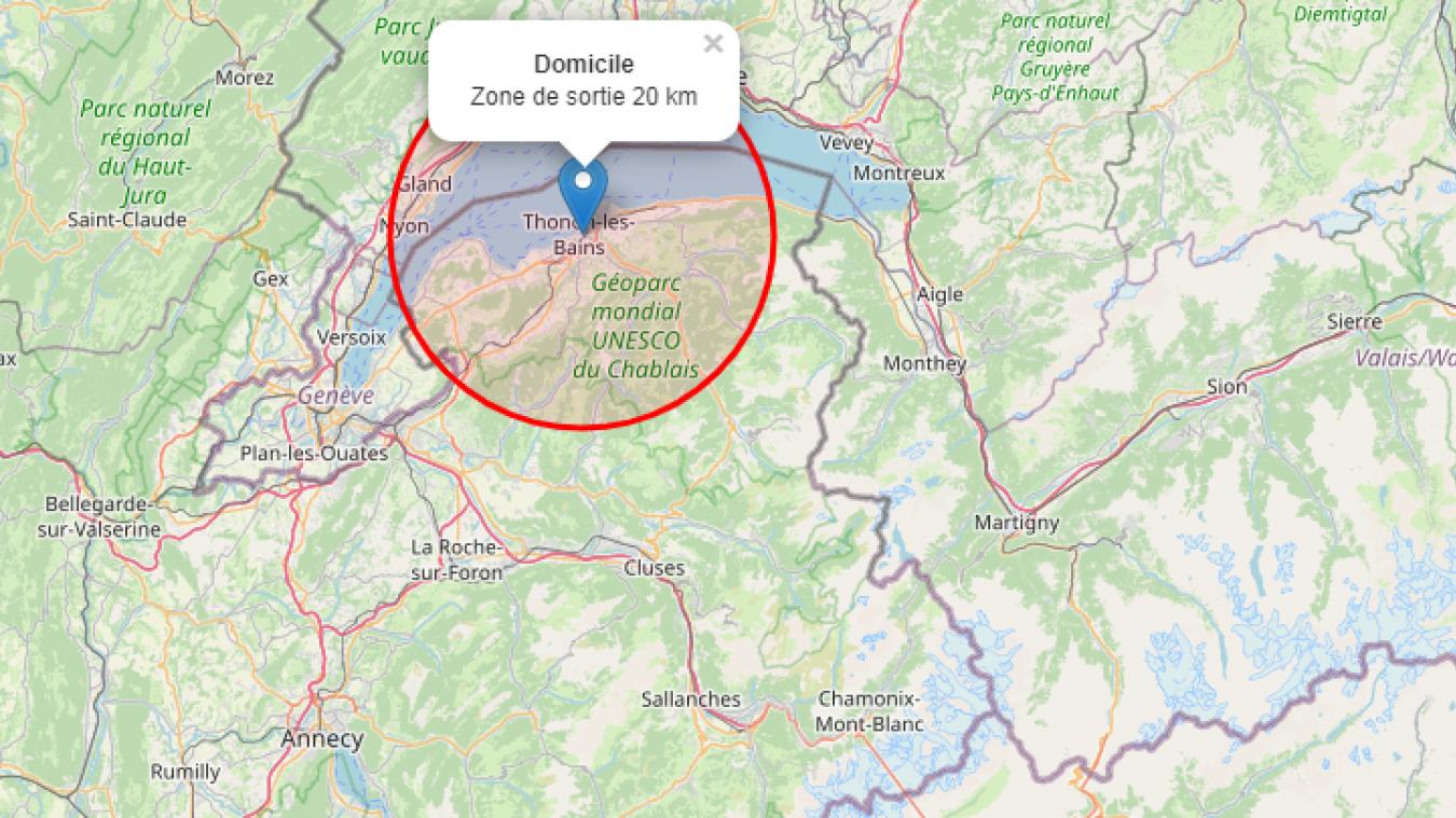 Plusieurs sites permettent de calculer le rayon de 20 km autour de son doimicile.