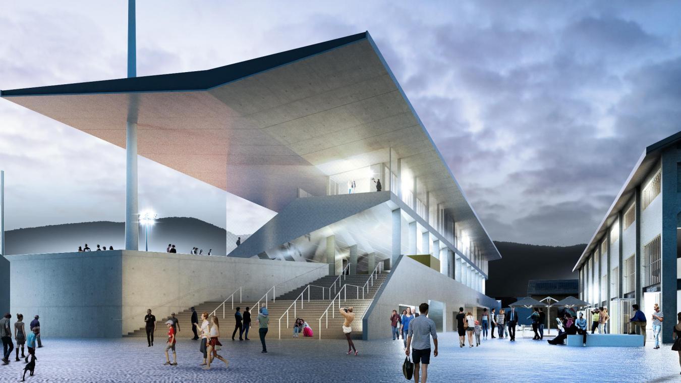 Le nouveau stade municipal prévoit 5000 places assises dont 3000 en tribune fixe.