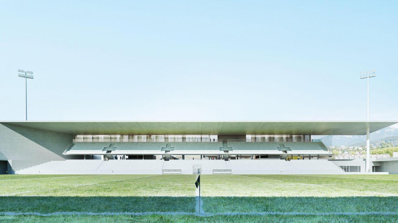 Le nouveau stade devra permettre l'accompagnement du Soc rugby vers l'élite. Photo: Patey Architectes.