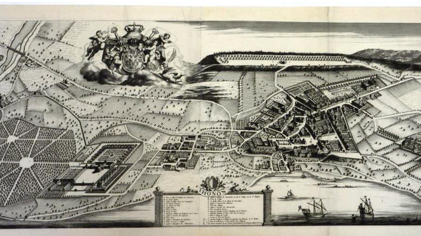 Sur ce plan datant de 1674 est représentée la cité de Thonon surmontée de la place de Crête. A droite, le château de Marclaz. A gauche on distingue le château de Ripaille bordé par la forêt. Entre Thonon et Ripaille, le hameau de Concise (avec le château de la Fléchère). Tully, non représenté ici, se situe sous le blason. Le petit hameau de Vongy est visible au bord de la Dranse.