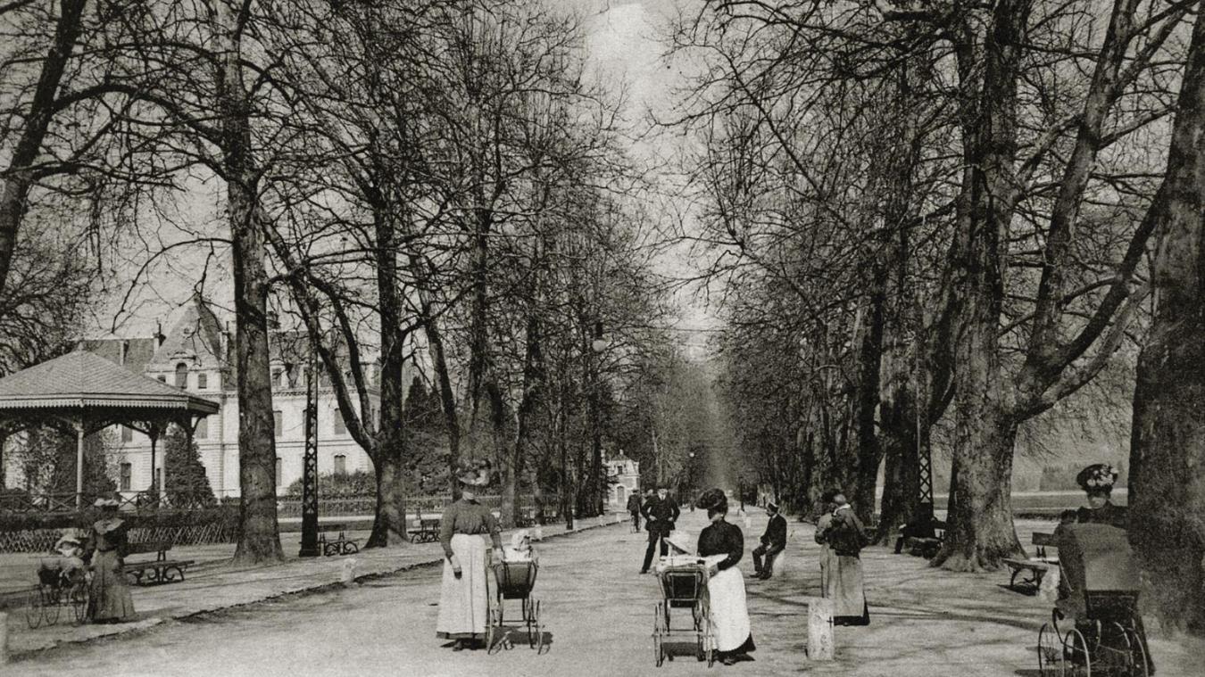Bordée d'arbres majestueux et de bâtiments emblématiques, l'avenue d'Albigny est un voyage à elle seule. Photo: Archives municipales d'Annecy. 34 Fi 00752. Ed Gardet.