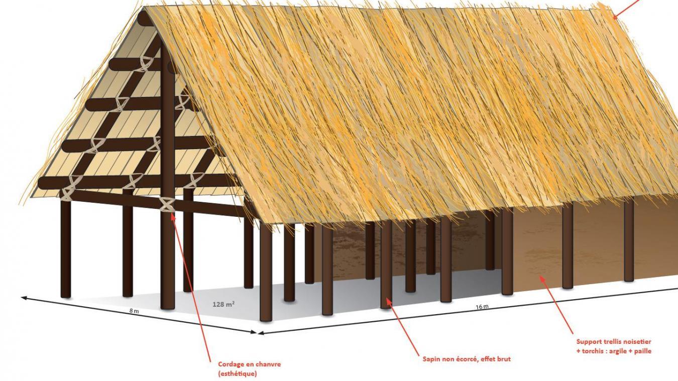 Ci-dessus, la première mouture du projet. Finalement la toiture sera recouverte de chaume.