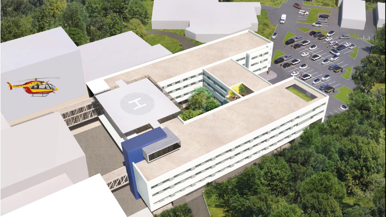 Le nouveau bâtiment sera relié à l'ancien par deux passerelles. Il accueillera une hélistation sur son toit.