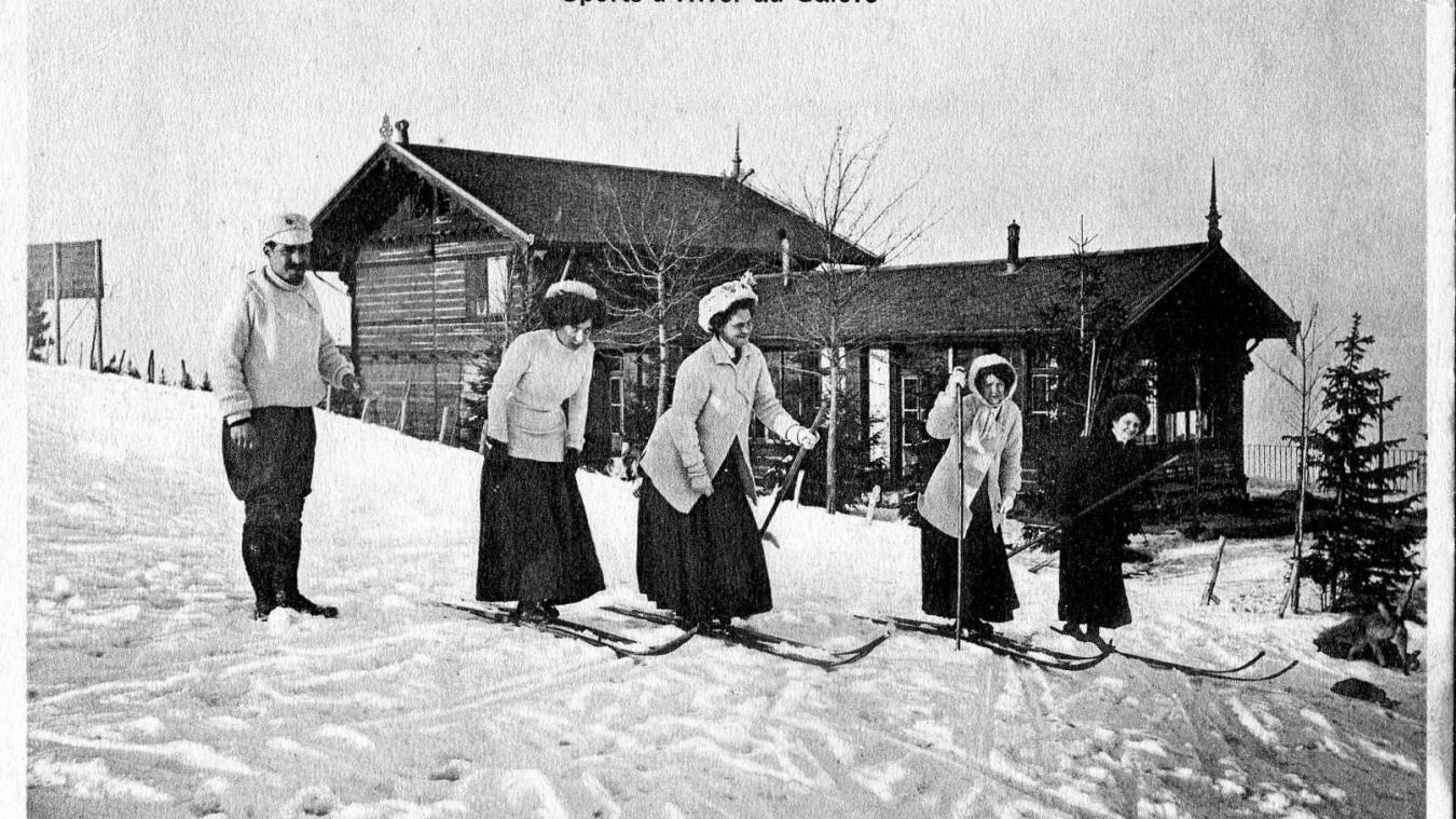 Depuis le terminus du chemin de fer, ce sont des kilomètres de descentes qui s'offraient aux skieurs et aux lugeurs au Salève. (Collection M. Brand).