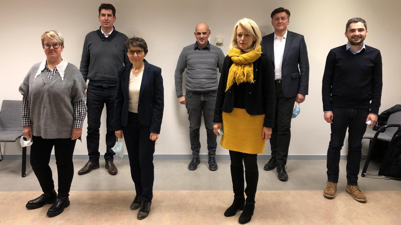 De gauche à droite, Isabelle Dijeau, Bruno Basso, Joëlle Derippe-Perradin, Bilel Bouchetibat, Christiane Laydevant, Philippe Chamosset et Anthony Granger.