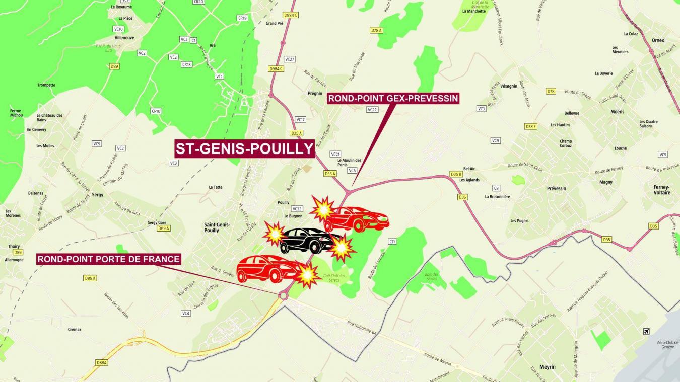 L'accident s'est produit entre le rond-point Porte de France et le rond-point de Gex-Prévessin.